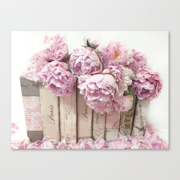 Shabby Chic Pink Peonies Paris Books Wall Art Print Home Decor Canvas Print