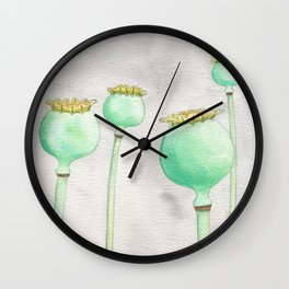 Four Poppy Pods Wall Clock
