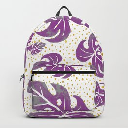 purple leaves on dots Backpack