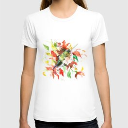 Little Hummingbird and Red Flowers T-shirt