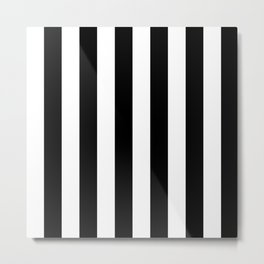 Black & White Vertical Stripes - Mix & Match with Simplicity of Life Metal Print