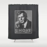 obama Shower Curtains featuring Smoke! Funny Obama Hope Parody (Smoking Man)  by badbugs_art