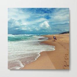Walking Along the Beach Leaving Sandy Footprints Metal Print