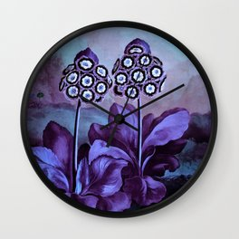 Lavender Blue Auriculas Temple of Flora Wall Clock