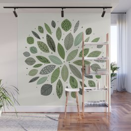 Mid-Century Green Leaves Wall Mural