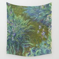 monet Wall Tapestries featuring Irises by Claude Monet by Palazzo Art Gallery