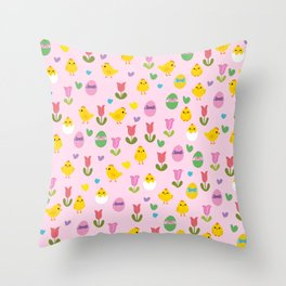 Easter - chick and tulips pattern Throw Pillow