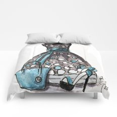 Dots and Shoes Fashion Watercolor Comforters