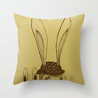 minions Throw Pillows featuring The Rabbit Man by Michael B. Myers Jr.