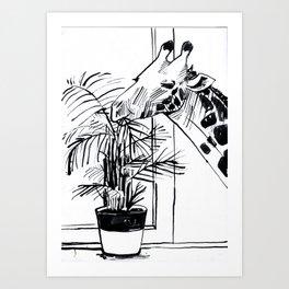 Giraffe Munch Art Print
