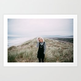 Girl with Cat Overalls on the Oregon Coast Art Print