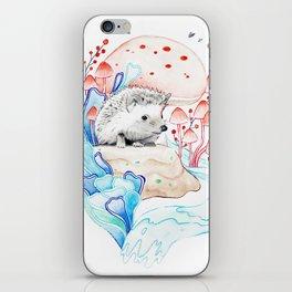 Hedgehog in Mushrooms iPhone Skin