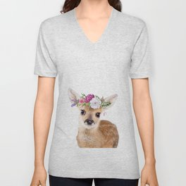 Baby Deer with Flower Crown Unisex V-Neck