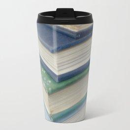 Pile of books - blue Travel Mug