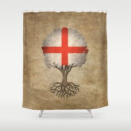 Vintage Tree of Life with Flag of England Shower Curtain