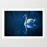 swan Art Prints featuring Swan by Spooky Dooky