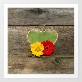 Wooden Heart with Flowers Art Print