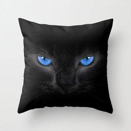 Black Cat in Blue Eyes Throw Pillow