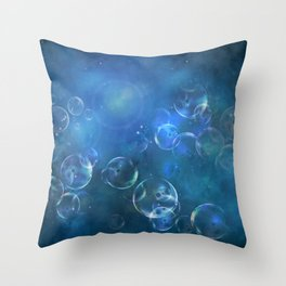 floating bubbles blue watercolor space background Throw Pillow