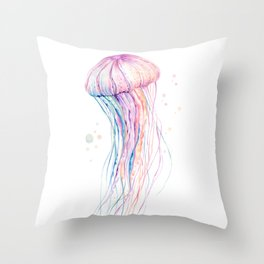 Watercolor Jelly Fish Throw Pillow