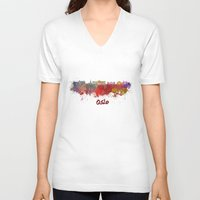 oslo V-neck T-shirts featuring Oslo skyline in watercolor by Paulrommer
