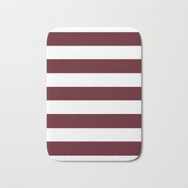 Chocolate cosmos - solid color - white stripes pattern Bath Mat