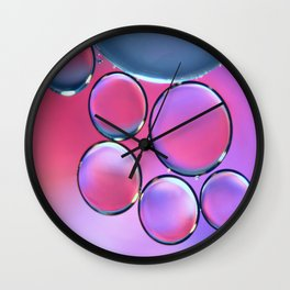 Oil On Water - Bubbles Purple & Pink Wall Clock