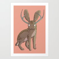 jackalope Art Prints featuring Jackalope by Floipoid