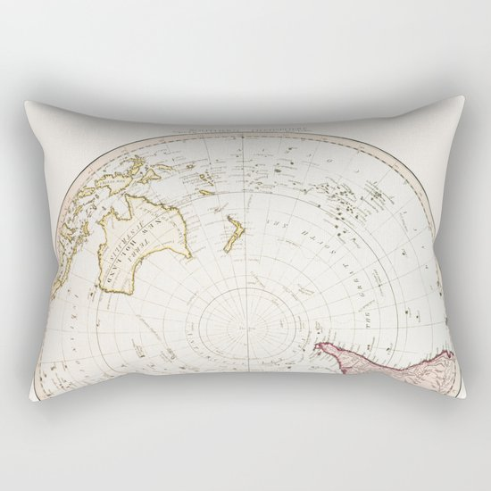 Southern Hemisphere - reproduction of William Faden's 1790 engraving Rectangular Pillow