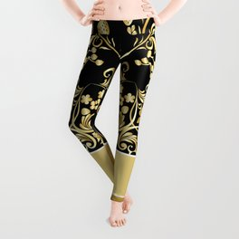 Golden floral with strawberries Leggings