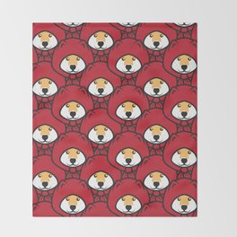 Red Riding Shibe Throw Blanket