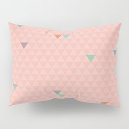 Geometric Stitched Triangles in Pink Pillow Sham