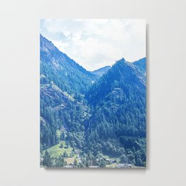 Panoramic view of the Gressoney valley in summer near Monte Rosa Metal Print