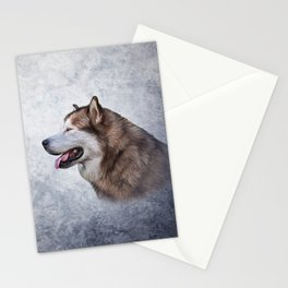 Drawing Dog Alaskan Malamute 5 Stationery Cards