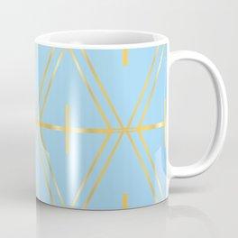 Golden Blue Fretwork Coffee Mug