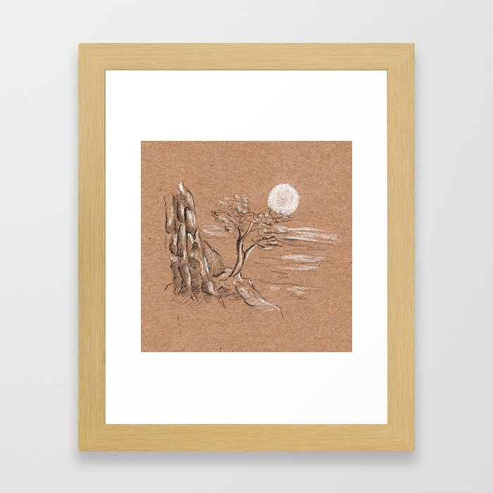 Mountain lonely tree Framed Art Print