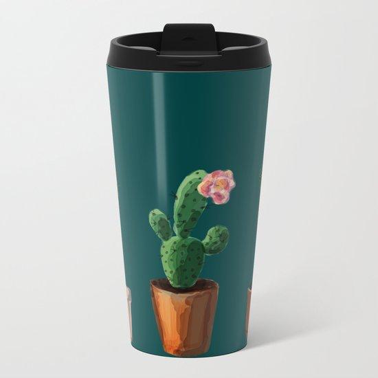 Three Cacti On Green Background Metal Travel Mug
