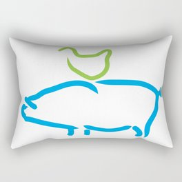 Pigs & Chicks - a love story in blue and green Rectangular Pillow