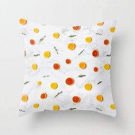 White, Red and Yellow Citrus Fruits on Marble Floor Artwork Abstract Throw Pillow