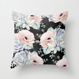 Night Succulents Throw Pillow