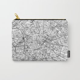 Berlin City Map Germany White and Black Carry-All Pouch