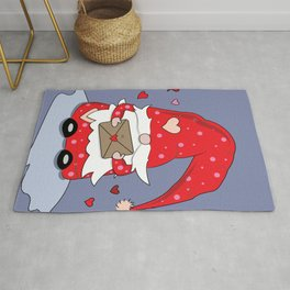 Cute Red Gnome with Love Letter Rug