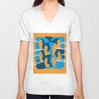 faces V-neck T-shirts featuring Faces by Jonathan Severin