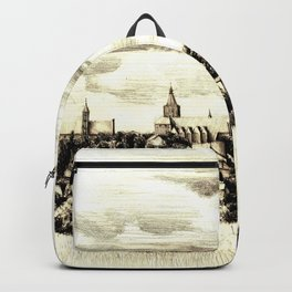 PANORAMA OF A GOTHIC CITY CHELMNO IN POLAND MADE IN FIGURATIVE STYLE Backpack