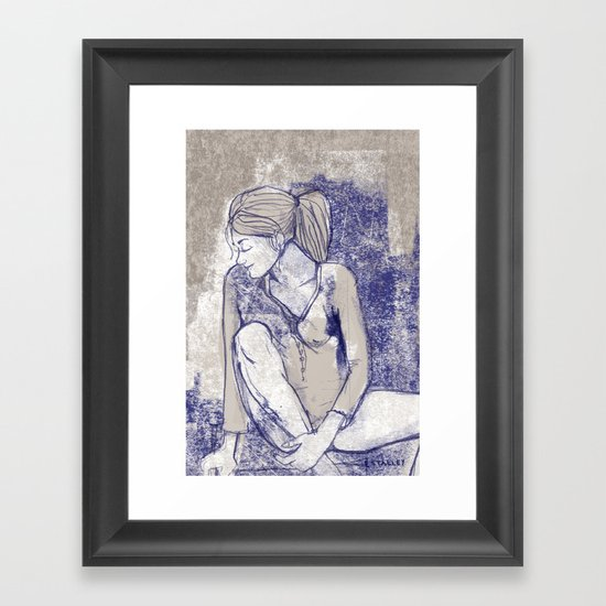 Girl lost in thought Framed Art Print