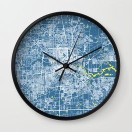 HOUSTON Map Texas | Blue & Yellow | More Colors, Review My Collections Wall Clock
