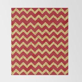 Chevron Red Gold Throw Blanket