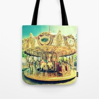 carousel Tote Bags featuring Carousel Merry-G0-Round by Whimsy Romance & Fun