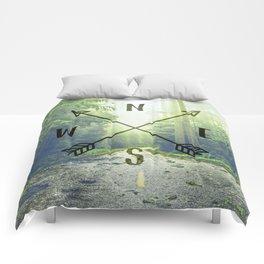 Compass in the Redwoods Comforters