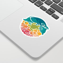 Aquatic Rainbow (white) Sticker
